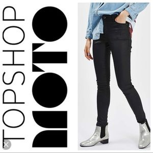 TopShop High Rise Moto Coated Leigh in Bla…